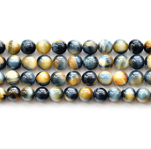 "Natural 5A Yellow Tiger's Eye Stone Gemstone Round Loose Beads 15"" 6 8 10 12mm"