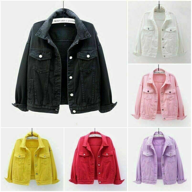 New Womens Button Up Denim Jacket Coat Ladies Jean Plain Top Color UK Size 6-20