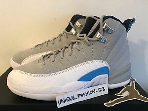 NIKE AIR JORDAN 12 RETRO BG WOLF GREY-BLUE UNC SZ 4Y -WOMENS SZ 5.5 [153265-007]