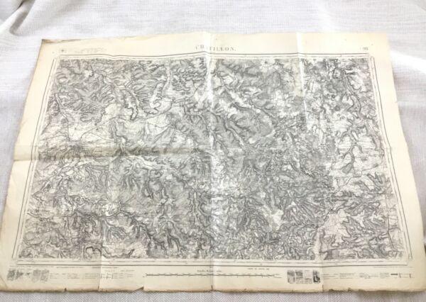 1887 Antik Französisch Landkarte Chatillon Chaumont Bagneux France 19th Original Offensichtlicher Effekt