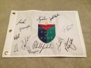 529b81c58f6 Details about Hall Of Fame Golf Pin Flag Signed Autographed Tiger Woods  Phil Mickelson