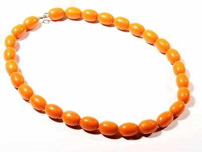 "17"" Chunky Vintage Czech Bohemian necklace large oval orange molded glass beads"