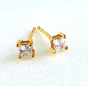 Image Is Loading Men Square Stud Earrings 24k Yellow Gold