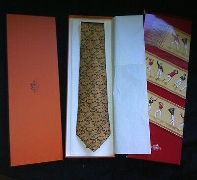 Authentic Hermes Tie - Monkeys & Crocodiles 7682 TA