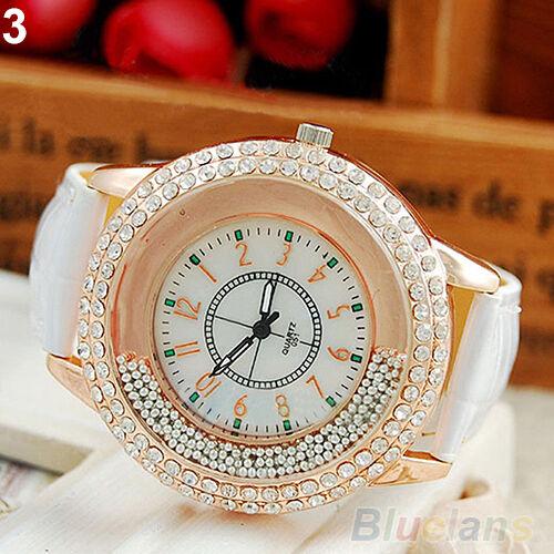 Stylish Women Round Crystal Dial Quartz Analog Leather Bracelet Wrist Watch BJCU