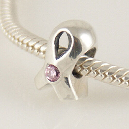 Cinta de color rosa de cáncer Genuino 925 plata pulsera con dijes Europea Bead Fits