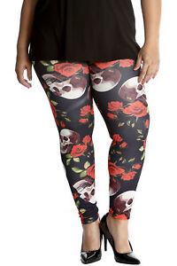 New Ladies Leggings Plus Size Womens Skull & Roses Gothic Print Long Nouvelle Noch Nicht VulgäR