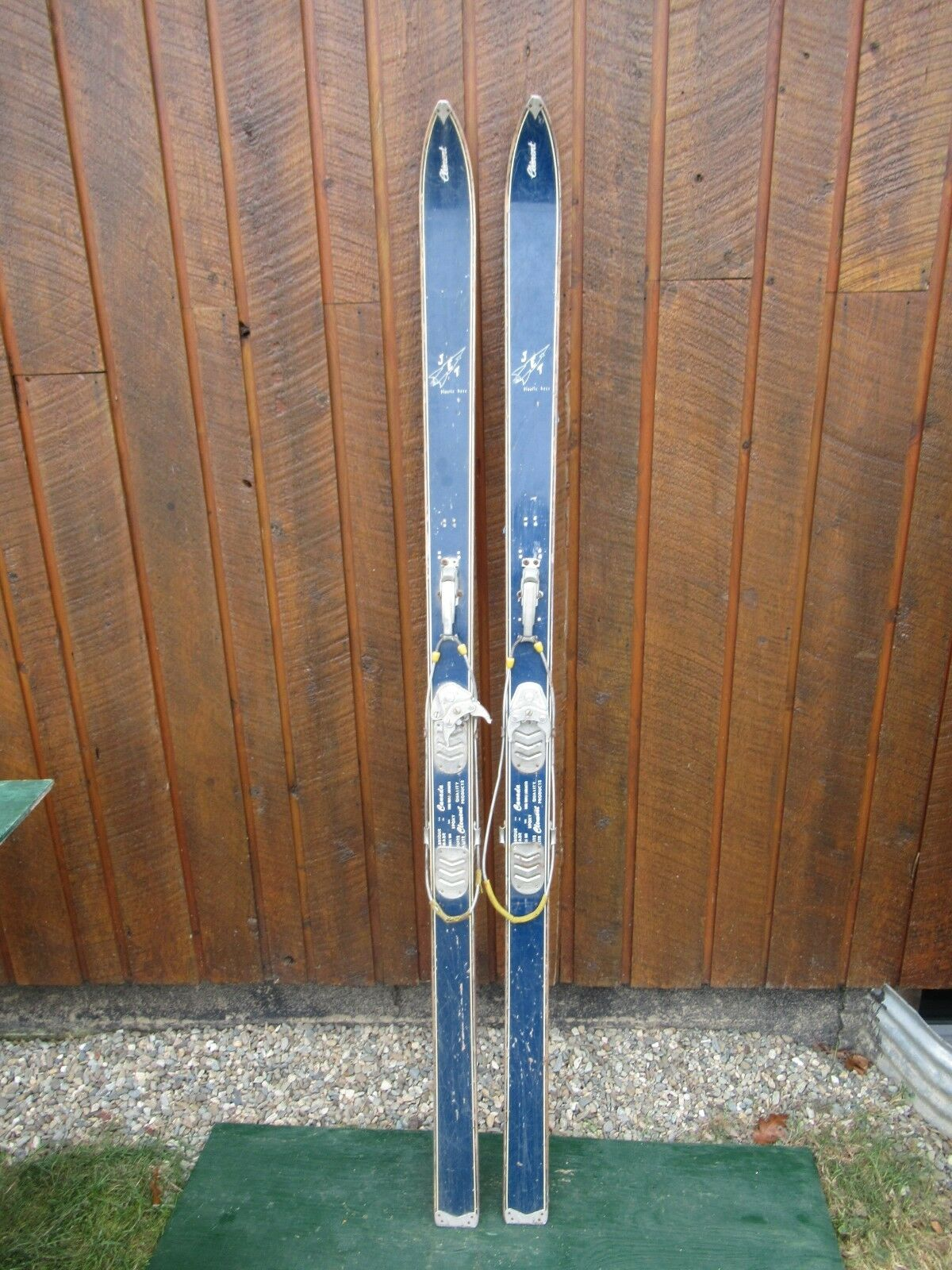 GREAT OLD Set  71  Long Wooden Skis with bluee Finish Signed CLEMENT JET  best price