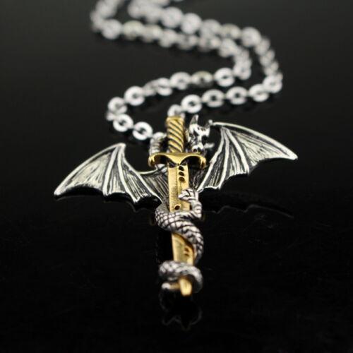 Halskette Edelstahl mit Anhänger Silber Drache u Gold Schwert Gothic Mystic LARP