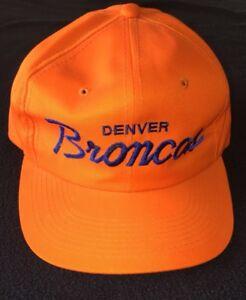 3c3e6064f5b719 Image is loading Vintage-NFL-Denver-Broncos-Orange-Script-Snapback-Hat-
