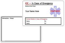 Sordera Ice-en caso de emergencia-Tarjeta de Identificación Alerta médica.