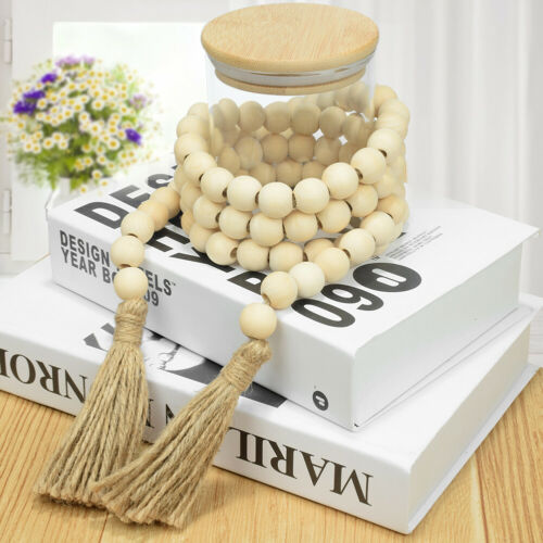 farmhouse decor wood bead garlands with tassels rustic hanging crafts 30-132cm