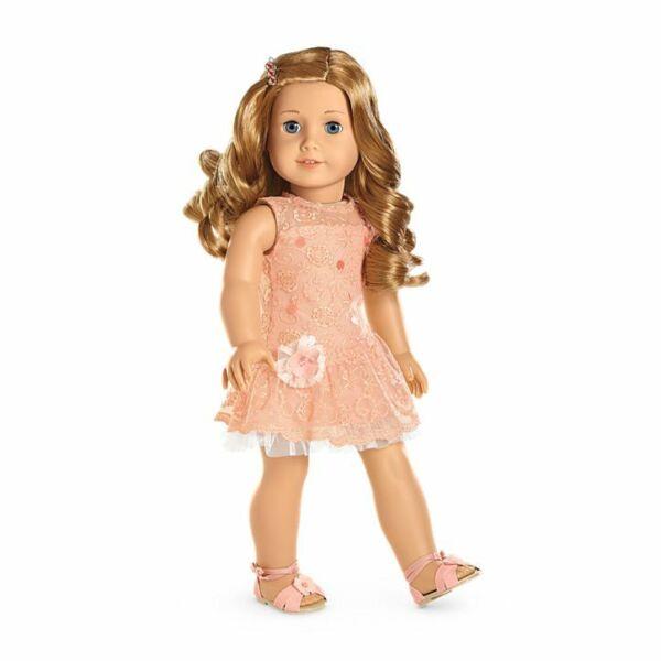 2019 Nouveau Style ✨ American Girl Doll Shimmer & Dentelle Robe De Soirée Set New In Box Bling ✨