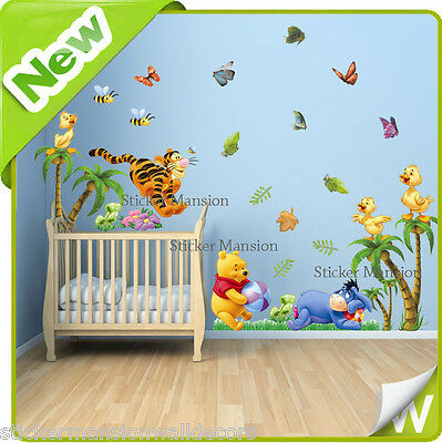 Winnie The Pooh Wall Stickers Animal Butterfly Tree Nursery Baby Room Decal Art
