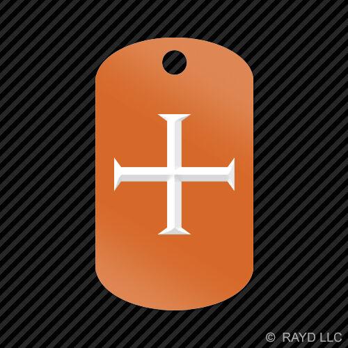 Knights Templar Keychain GI dog tag engraved many colors  knight shield