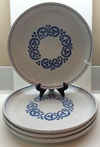 Denby-ENGLISH-BLUE-4-Dinner-Plates-EXCELLENT-Condition