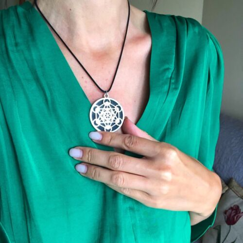 Shungite Metatron Pendant Healing Crystals Reiki Chakra Meditation Holistic