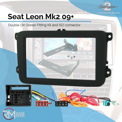 Seat Leon Mk2 09 De Doble Din Stereo Facia Kit de montaje del panel de cables ISO aérea