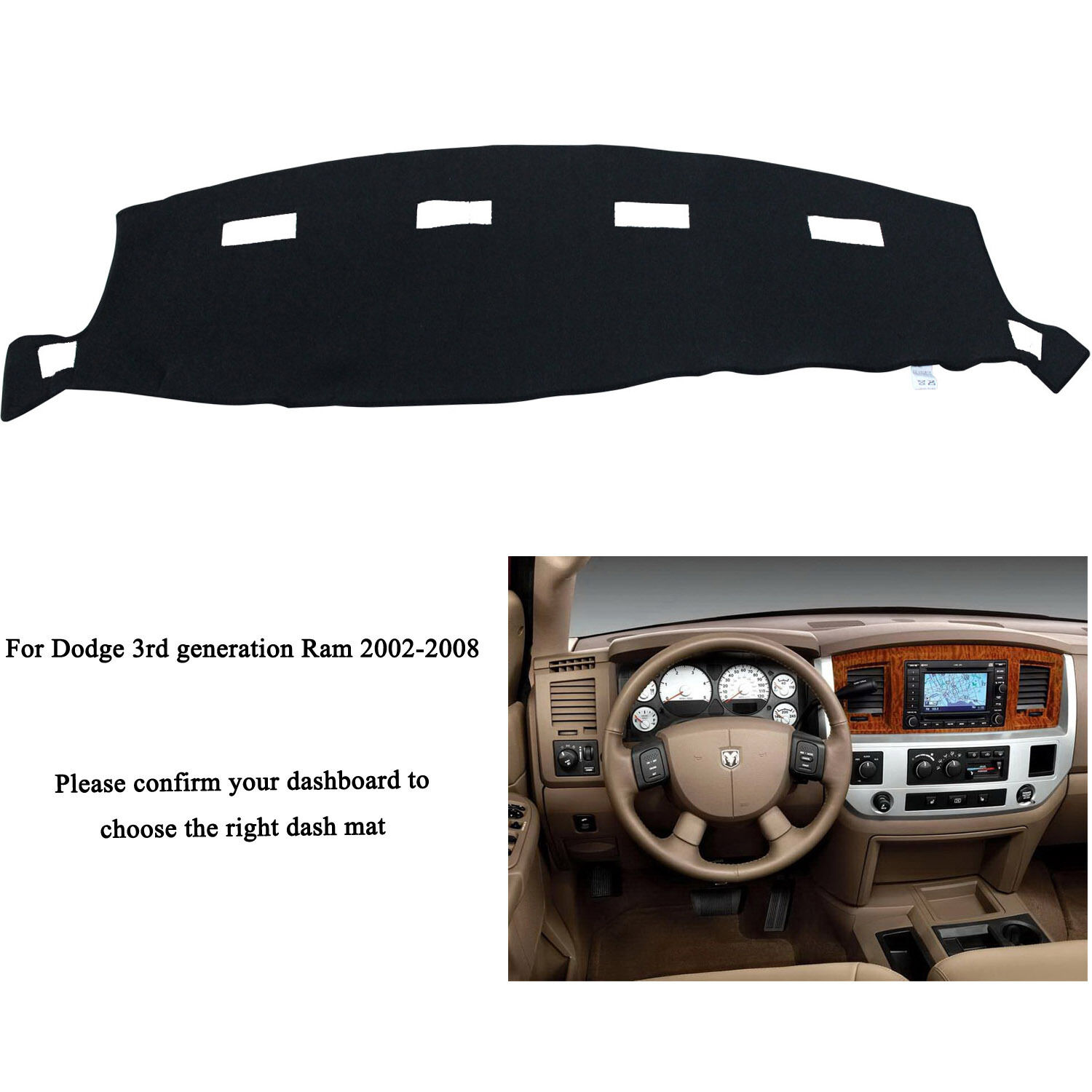 Fly5D Auto Black Dash Mat Cover Dashboard For DODGE RAM