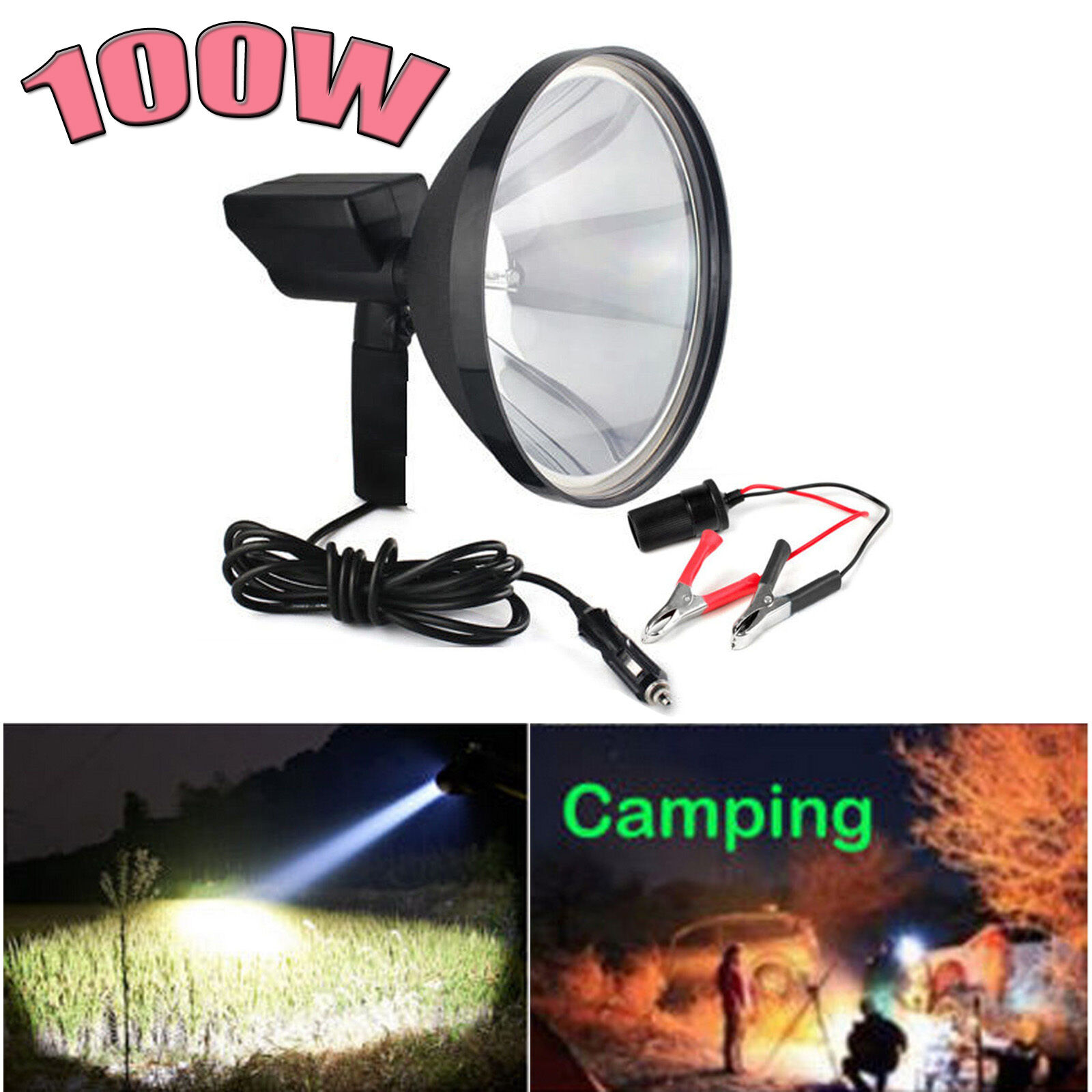 12V 9'' 100W HID Handheld Lamp Camping Hunting Fishing  Super Light Spotlights  low-key luxury connotation