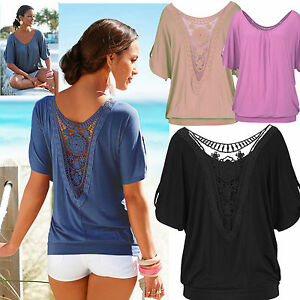 UK-Womens-Summer-Loose-T-Shirt-Short-Sleeve-Blouse-Ladies-Casual-Tops-Plus-Size