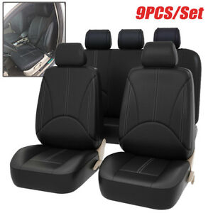 9pcs-PU-Leather-Car-Seat-Cover-Full-Set-Front-Rear-Seat-Cushion-Mat-Protector