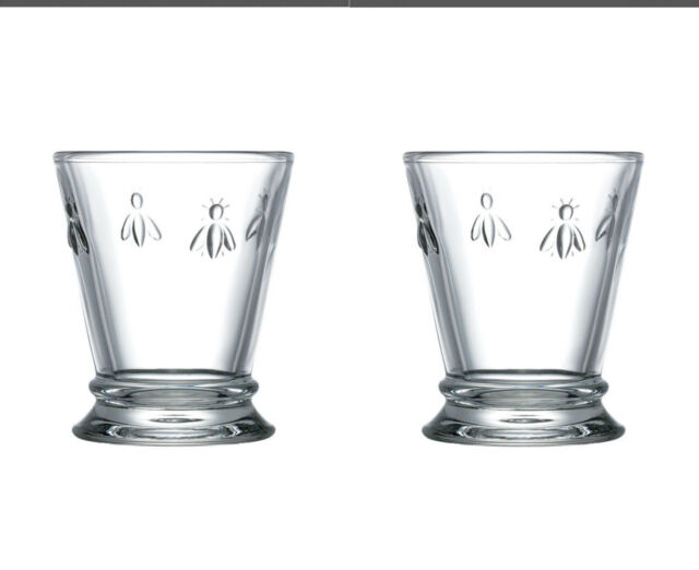 La Rochere Set of 2 Bee Tumblers, 26cl Drinks Water Glasses Decorated Glassware