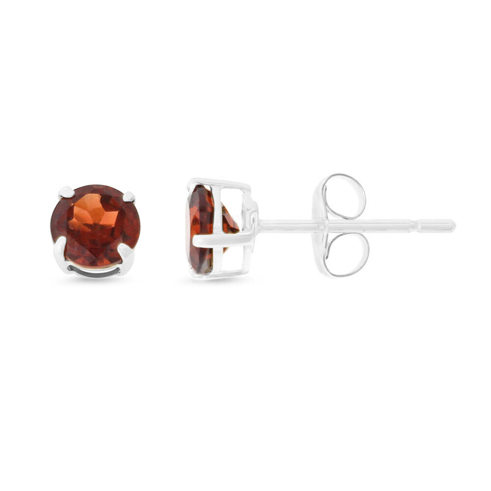 14KT WHITE gold - 0.87CTW 5 MM. ROUND SHAPED GENUINE NATURAL GARNET EARRINGS