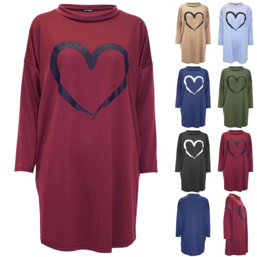 Femme Femmes Poches Latérales cœur oversize manches 3//4 Fleece Sweat-shirt robe