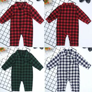 Newborn Baby Boy Girl Plaid Ange One-Piece shirt col Tops Combinaison Vêtements