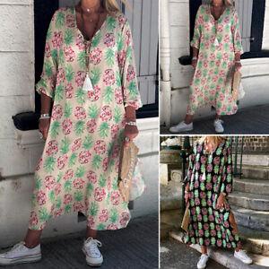 Zanzea-Damen-Sommer-Floral-V-Ausschnitt-Strandkleid-Urlaub-Damen-Lang-Sonne-Kleider