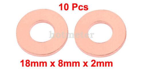 H● 10Pcs 18x8x 2mm Flat Ring Copper Crush Washer Sealing Gasket Fastener 30g