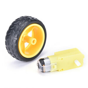 Hot! New!Smart Car Robot Plastic Tire Wheel with DC 3-6v Gear Motor For arduino.