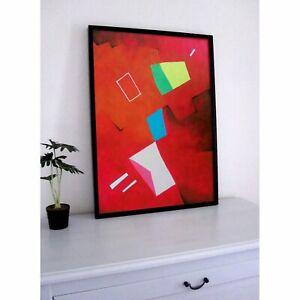 Peinture Abstraite Rouge Et Formes Art Contemporain Déco Moderne