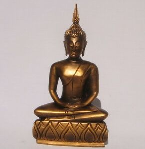 Thai-Wooden-Gold-Handcarved-Buddha-24cm-tall-from-Thailand-Brand-New-Fair-Trade