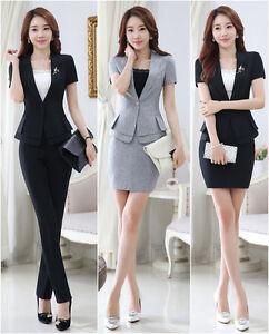 New style Women work wear jacket OL formal blazer set office ... 75a4fe1cc