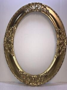 Large-Antique-Oval-Gesso-Wood-Picture-Frame-034-NICE-034