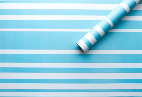 BLUE STRIPE STICKY BACK PLASTIC PVC WALLPAPER FABLON MODERN CONTERPORARY LINES