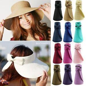 1791435fc27 Womens Summer Sun Beach Hat Foldable Roll Up Wide Brim Straw Lady ...