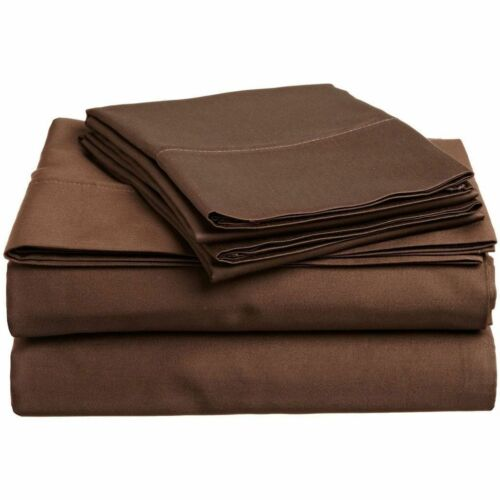 Elastic All Around Fits Fitted Sheet Chocolate Solid All Deep Pkt /& Sizes 1000TC