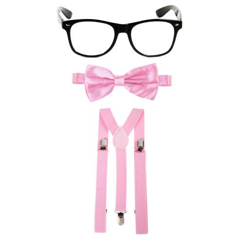 Geek Nerd Bowtie Fancy Dress Costume w// Glasses Braces Bow Tie Baby Pink