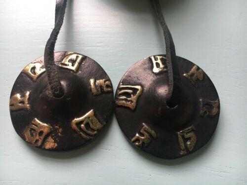 Tibetan Tinsha bell black auspicious symbol design 4.5cm