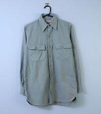 """Da Uomo Vintage pianura camicia di flanella in verde menta piccolo 14.5"""" COLLARE L.L. Bean"""