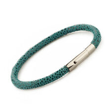 Genuine Printed Leather Stainless Steel Clasp Bracelet Turquoise