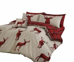 PLAID-TARTAN-CHECK-STAGS-RED-BEIGE-COTTON-BLEND-SINGLE-DUVET-COVER