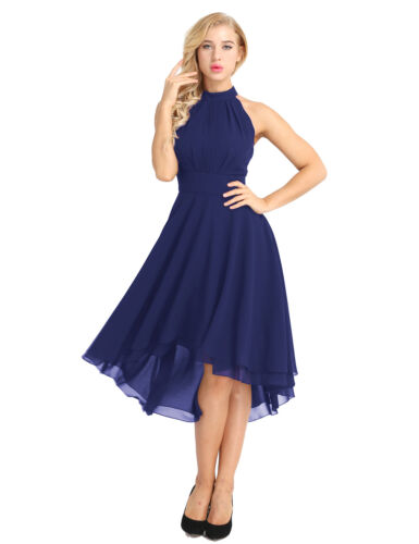 Women Formal Prom Bridesmaid Dress Chiffon Halter High Low Evening Party Gown