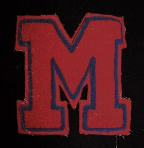 VINTAGE-1960-039-S-1970-039-S-SCHOOL-LETTER-DARK-RED-AND-BLUE-PATCH-6-1-2-034-X-6-1-2-034