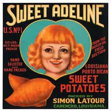 Carencro Louisiana Bayou Maid Sweet Potato Yams Vegetable Crate Label Art Print