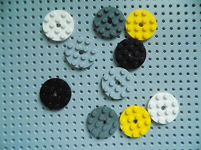 Round 4 x 4 with Hole part 60474 lot of 8  pick your color Lego Plate