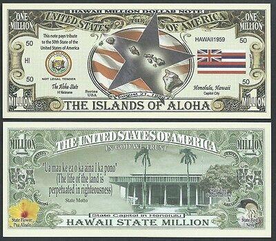 CAPITOL FLAG HAWAII STATE MILLION DOLLAR BILL w MAP SEAL Lot of 10 Bills